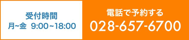 受付時間 月〜土 9:00〜18:00 電話で予約する 028-657-6700